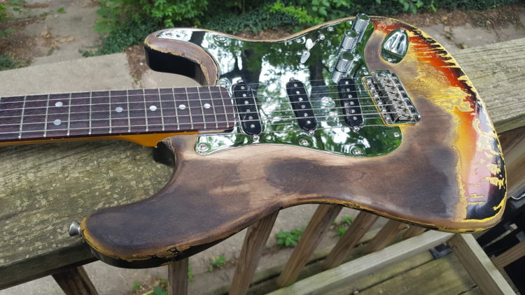 Dweezil Zappa Frank Zappa Burned Hendrix guitar